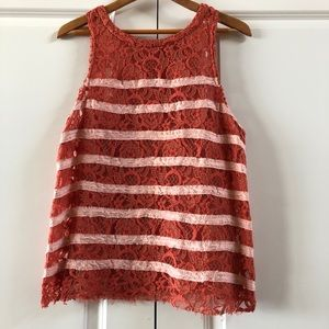 Free People Coral Lace Tank Size Large